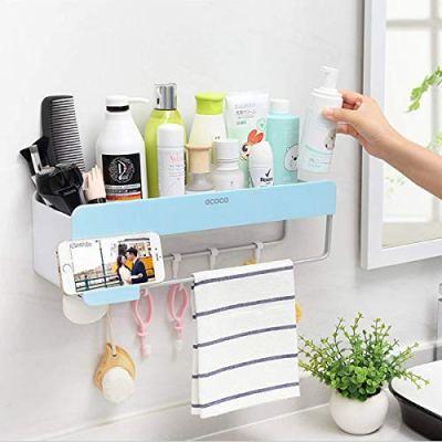 SHE'S HOME Bathroom Shower Organization, Bathroom Wall Organizer Adhesive Shampoo Storage, Shower Caddy Wall Rack Shelf with Towel Bar, Hanging Hooks, Soap Holder