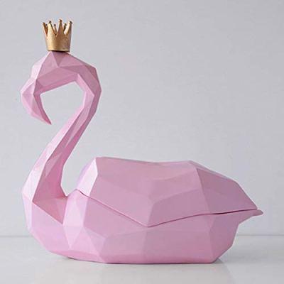 LCNINGZJH Geometric Flamingo Tissue Box, Eco Resin Bathroom Towel Dispenser, Home Decorating Desktop Decoration Gift (Black, Blue, Gold, Pink, White, Dark Blue) (Color : Pink)