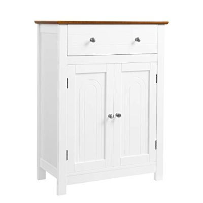 """VASAGLE Free Standing Bathroom Storage Cabinet with Drawer and Adjustable Shelf, Kitchen Cupboard, Wooden Entryway Floor Cabinet, 23.6"""" L x 11.8"""" W x 31.5"""" H, White, Brown UBBC62WT"""