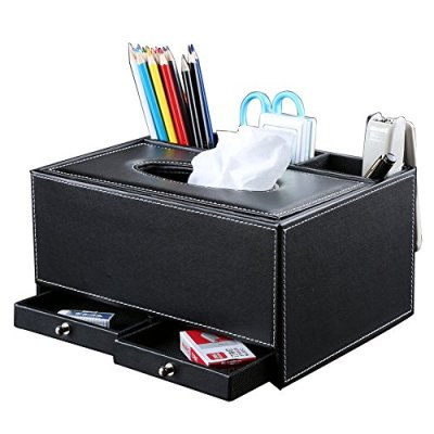 KINGFOM Creative Tissue Box Holder with 3 Compartments Holder and 2 Small Drawer, Multi-function PU leather Tissue Box Cover Desk Organizer (Classic Black)