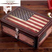 Hot Selling Candy Jewelry Sundries Storage Box Vintage USA Flag Tin Metal Box Home Decor Decoration Display 18*25*8.5cm