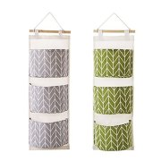 2 Packs Wall Hanging Storage Bags with 3 Pockets for Bedroom & Bathroom