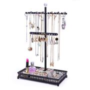 Minggoo Jewelry Tree Stand Organizer 3in1 Necklace Organizer Display Bracelet Earrings and Ring Tray Jewelry Holder Hanger Metal Black