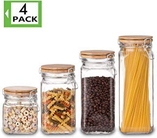 Food Storage Containers Set, Kitchen Storage Jars, Elegant Life Clear Glass Airtight Canister Set with Airtight Clamp Caps(4 Packs,5.5L)