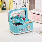 New Mediterranean style with mirror music box The girl jewelry students creative gift Plastic Box Make Up Organizer