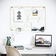 Cevillo Stylish Wire Metal Wall Grid Panel – Perfect as Photo Frame, Office Organization – Gold Multi-Functional Wall Storage Display (Gold | Rectangle)