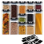 Airtight Pantry Storage Container Set of 12 + 18 Labels & Chalk Marker - Strong Heavy Duty Plastic - BPA Free - Airtight Food Storage Clear Plastic with Black Interchangeable Easy Lock Lids
