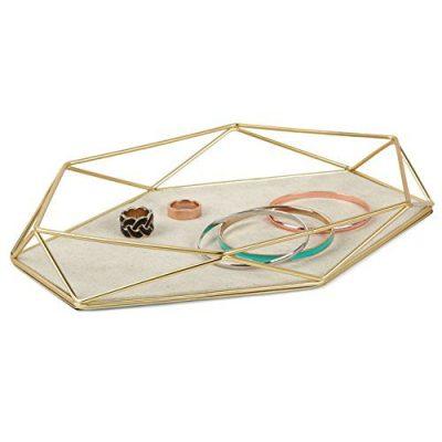Geometric and Brass Plated Jewelry Storage