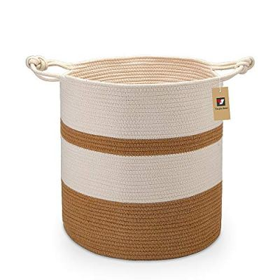 """YouJia Extra Large Cotton Rope Basket 18""""x16"""", Woven Baskets for Storing Blankets, Towels, Toys, Diapers, Books, Yoga mats, Coiled Round White - Brown Laundry Hamper with Handles"""