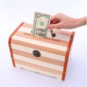 Wooden Box with Lock Money Storage boxes Case Piggy Bank Jewelry Organizer Secret Caja de cosmeticos de almacenamiento