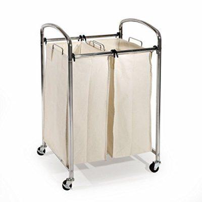 Seville Classics Mobile Double Bag Compact Laundry Hamper Sorter Cart, Chrome, UltraZinc