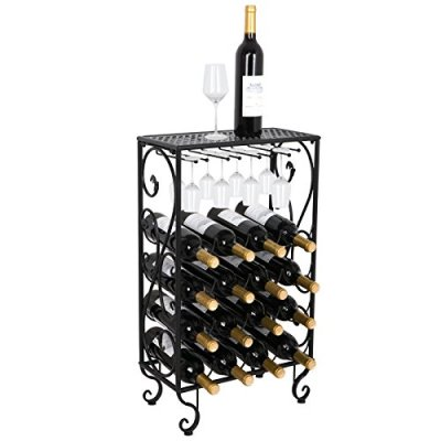 Smartxchoices 16 Bottle Wine Rack Tabletop with Glass Holder, Table Top with Glass Hanger Free Standing Wine Display Rack Storage Shelf Floor Wine Bottle Shelves