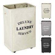 WOWLIVE Large Rolling Laundry Hamper Basket Wheels Durable Dirty Clothes Bag Collapsible Rectangular Washing Bin (Beige)