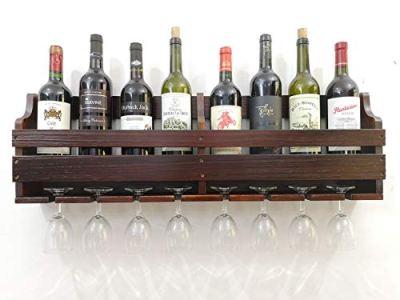 TUORUI Wine Rack Wall Mounted,Wine Glass & Wine Bottle Display Rack,Pine Wood,8 Bottle 8 Long Stem Glass Holder(Charcoal Walnut Color) (80CM Long)