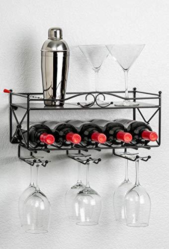 Mango Steam Wall-Mounted Wine Rack with Shelf and Stemware Glass Holder