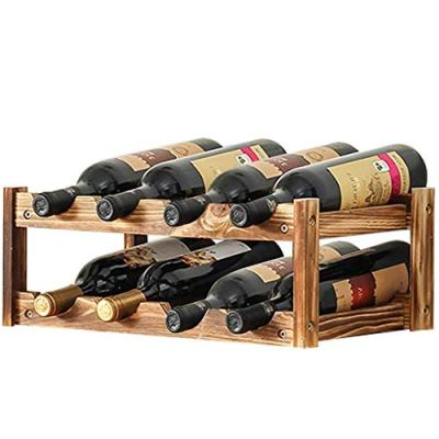 Aobosi Built-in Wine Cooler Rack,8-Bottle,Nature Wooden Wine Cooler Bottles Storage Shelf for Kitchen Countertops, Pantry, Fridge,Tabletop
