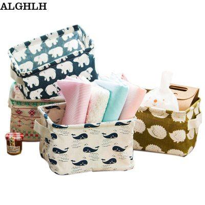 ALGHLH Cute Linen Home Storage Box Desk Organizer Folding Office Desk Storage Organizer 5 Colors Jewelry Cosmetic Fast Shipping