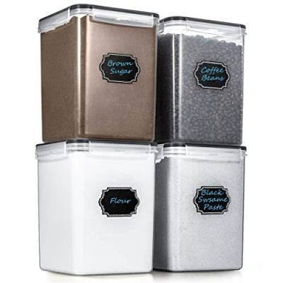 Large Airtight Food Storage Containers - Estmoon Cereal Storage Container Kitchen Storage Containers - Leakproof, Locking Lids, BPA Free, Freezer, Dishwasher Safe, for Cereals, Flour,etc(175OZ/5.2L)