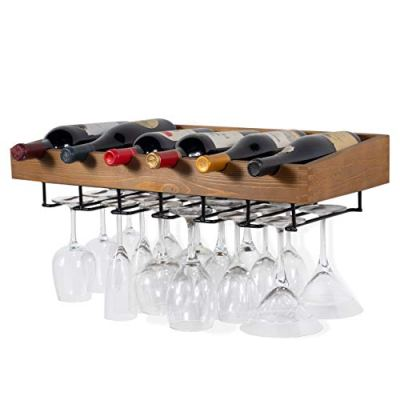 brightmaison Wall Mounted Walnut Stained Wood Wine Stem Rack for Bottles and Stemware Glass Storage Holder Organizer Display (Single)
