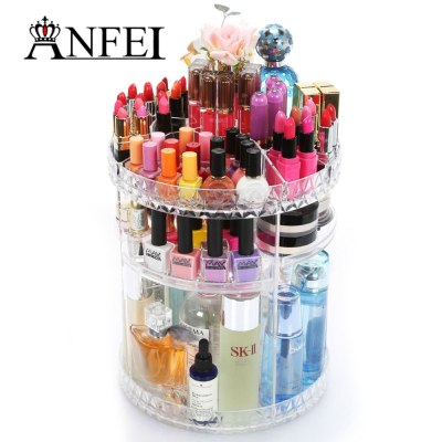 360-degree rotating multi-functional acrylic cosmetic storage box simple assembly atmosphere beautiful for all cosmetics C214