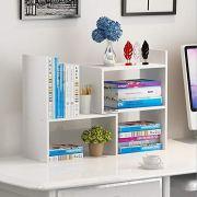 Wooden-Life Wood Adjustable Desktop Storage Organizer Display Shelf Rack, Office Supplies Desk Organizer,White