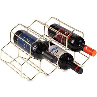 DCIGNA Gold Wine Rack Countertop, Freestanding Bottle Holder, Tabletop Wine Rack 7 Bottles - Metal Brushed Gold and Geometric Design for Cabinet Home Décor (Gold - 7 Bottles)
