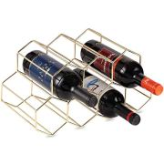 DCIGNA Gold Wine Rack Countertop, Freestanding Bottle Holder, Tabletop Wine Rack 7 Bottles - Metal Brushed Gold and Geometric Design for Cabinet Home Décor (Gold - 7 Bottles)