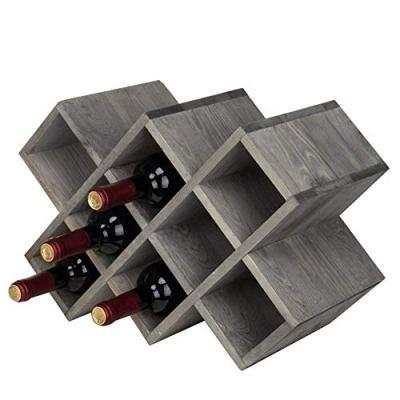 MyGift Vintage Gray Wood 8-Bottle Countertop Wine Rack