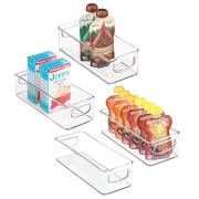 """mDesign Stackable Plastic Food Storage Bin with Handles for Kitchen Pantry, Cabinet, Refrigerator, Freezer - Organizer for Fruit, Yogurt, Squeeze Pouches - BPA Free, 10"""" Long - 4 Pack - Clear"""