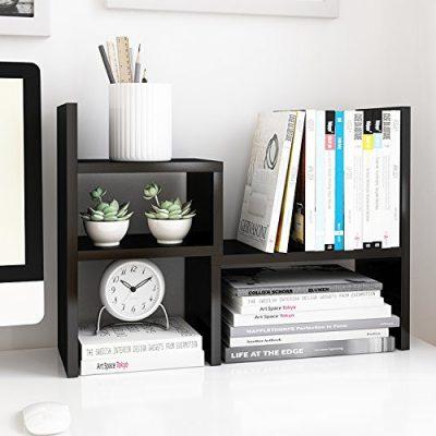 Jerry & Maggie - Desktop Organizer Office Storage Rack Adjustable Wood Display Shelf   Birthday Gifts - Toy - Home Decor   - Free Style Rotation Display - True Natural Stand Shelf