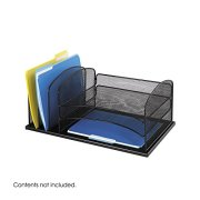 Safco Products Onyx Mesh 3 Sorter/3 Tray Desktop Organizer 3254BL, Black Powder Coat Finish, Durable Steel Mesh Construction