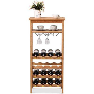 COSTWAY Bamboo Wine Rack Countertop Bottle Storage Free Standing w/Glass Hanger & Shelf