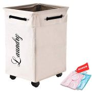 LuxUnik Rolling Laundry Basket, Laundry Basket with Wheels Foldable Waterproof Laundry Hamper for Clothing Organization with Two Mesh Hanging Storage Bags