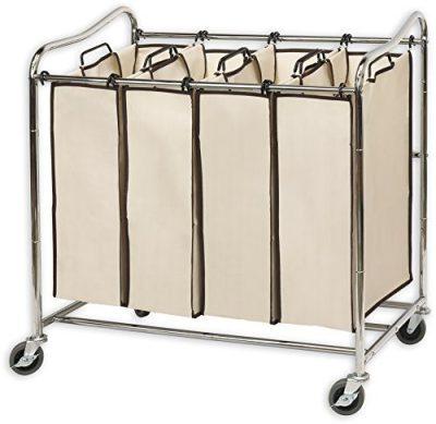 Simplehouseware 4-Bag Heavy Duty Rolling Laundry Sorter Cart, Chrome