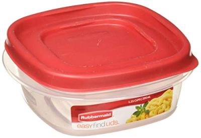 Rubbermaid 714270018701 Easy Find Lid Square 5-Cup Food Storage Container (Pack of 6), Red