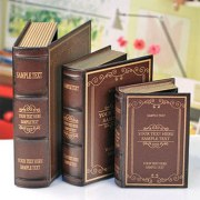 Set of 3 Vintage Wooden Decorative Book Storage Boxes