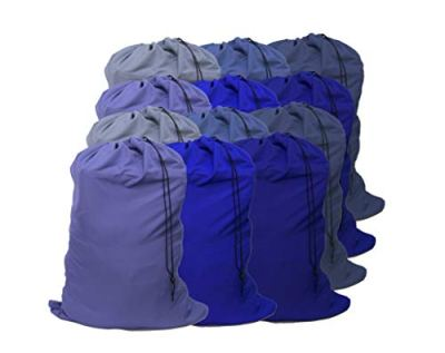"""YETHAN Extra Large Laundry Bag 12 Pack, Blue, Travel Laundry Bags with Drawstring Closure, 30""""x40"""", for College, Dorm and Apartment dwellers."""