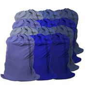 "YETHAN Extra Large Laundry Bag 12 Pack, Blue, Travel Laundry Bags with Drawstring Closure, 30""x40"", for College, Dorm and Apartment dwellers."