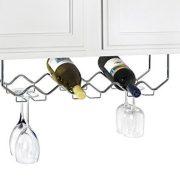 Useful. UH-GB186 Under Cabinet Stemware Holder and Wine Rack - Holds 6 Bottles/6 Stems - Chrome