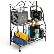 F-color Bathroom Countertop Organizer, 2 Tier Collapsible Kitchen