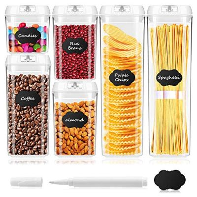 BAYKA Food Storage Containers with Lids, 6 Pieces Set Airtight Food Containers with Chalkboard Labels, Interchangeable Lock Design & Heavy Duty BPA Free Plastic