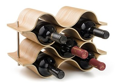 BREVER 6 Bottle Wooden Wave Wine Rack | Freestanding for Table, Bar or Counter |Modern Minimalist Design |Easy Assembly | Sweet and Dry Wines |for Small Home Wet Bar