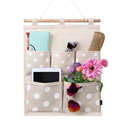 Wall Door Cloth Hanging Storage Bag Case 5 Pocket Home Organizer
