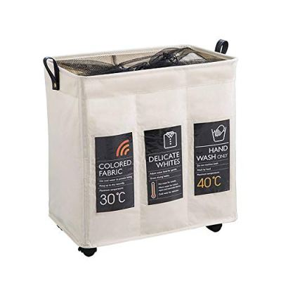 Neatorg Laundry Hamper 3 Section with Wheels Collapsible Waterproof Laundry Sorter Cart with Brake and Breathable Mesh Cover