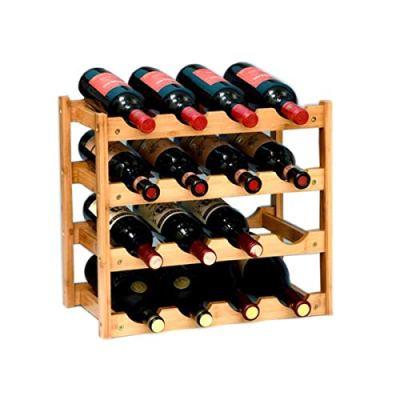 Riipoo 8-Bottle Wine Rack, 2-Tier Nature Bamboo Wine Display Rack, Free Standing and Countertop Stackable Wine Storage Shelf (16-Bottle)