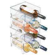 mDesign Plastic Free-Standing Wine Rack Storage Organizer for Kitchen Countertops, Table Top, Pantry, Fridge - Holds Wine, Beer, Pop/Soda, Water Bottles - Stackable, 2 Bottles Each, 4 Pack - Clear