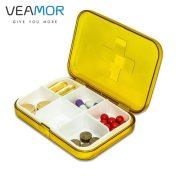 VEAMOR 4pcs/set Mini Medical Kit Storage Boxes Plastic Portable Four/Six Grids Storage Box Buckle Design Storage Boxes WB1469