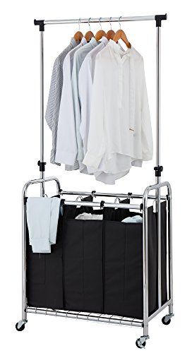 Finnhomy 3-Bag Rolling Laundry Sorter Cart with Hanging Bar, Heavy-duty Wheels & Larger Bags, Chrome