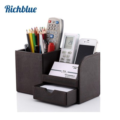 Full PU Leather Pen Pencil Box Holder Case Desk Stationery Organizer Storage Box 4 Colors office supplies