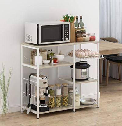 "Mr IRONSTONE Kitchen Baker's Rack Utility Storage Shelf Microwave Stand 3-Tier+3-Tier Table for Spice Rack Organizer Workstation (35.5"" Light Beige)"